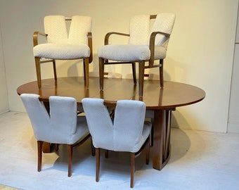 Paul Frankl 7 Piece Dining Set - Round Table with 2 Leaves