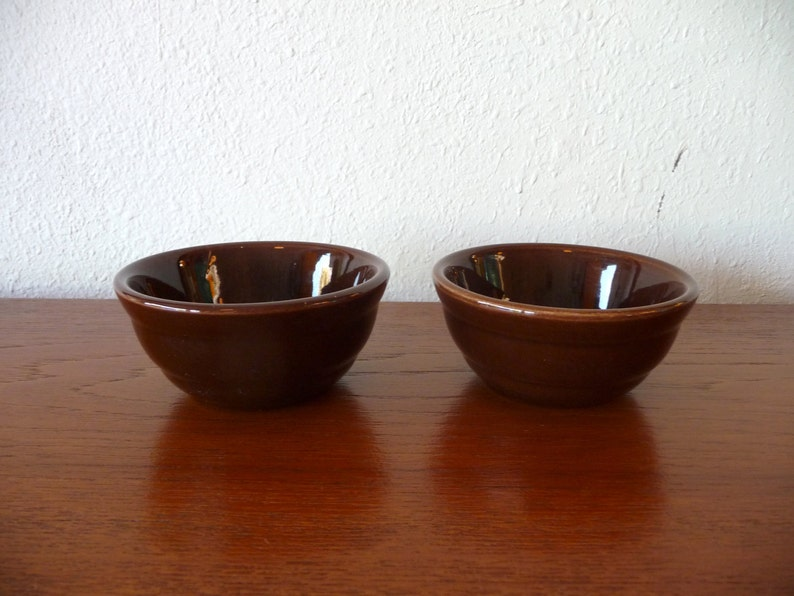Bauer Pottery Brown Custard Cups Mid Century Modern Pottery image 0