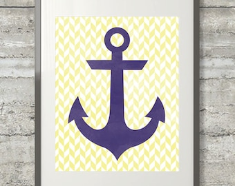 photo regarding Printable Anchor Stencil identified as Nautical Armed forces Striped With Yellow Anchor Printable Wall Artwork