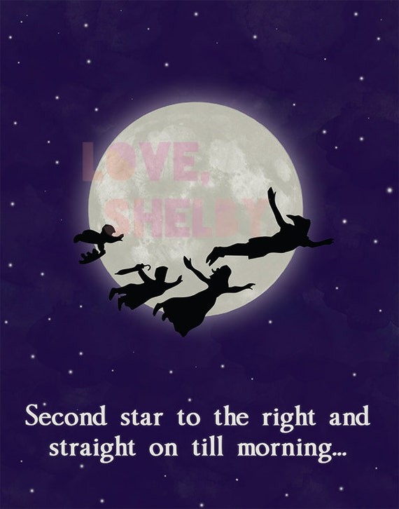 Peter Pan Art Second Star To The Right And Straight On Till Etsy
