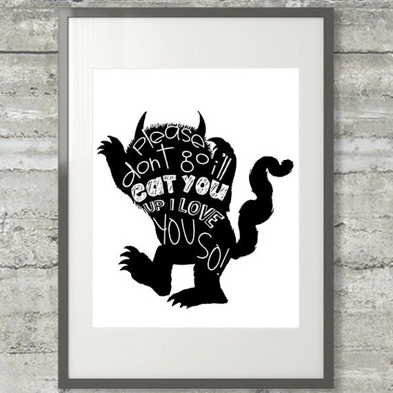 Nursery Wall Art Where The Wild Things Are 8x10 Please   Etsy