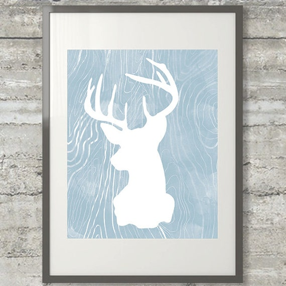 Deer Antler Art Silhouette Printable 8x10 Instant Download Etsy