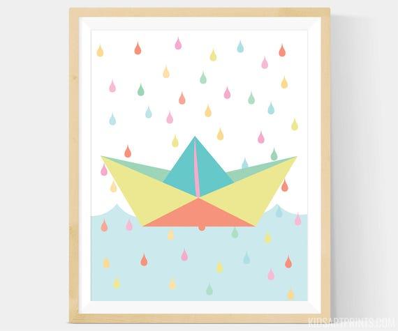 Paper Boat Art Paper Boat Nursery Art Paper Boat Wall Art Etsy