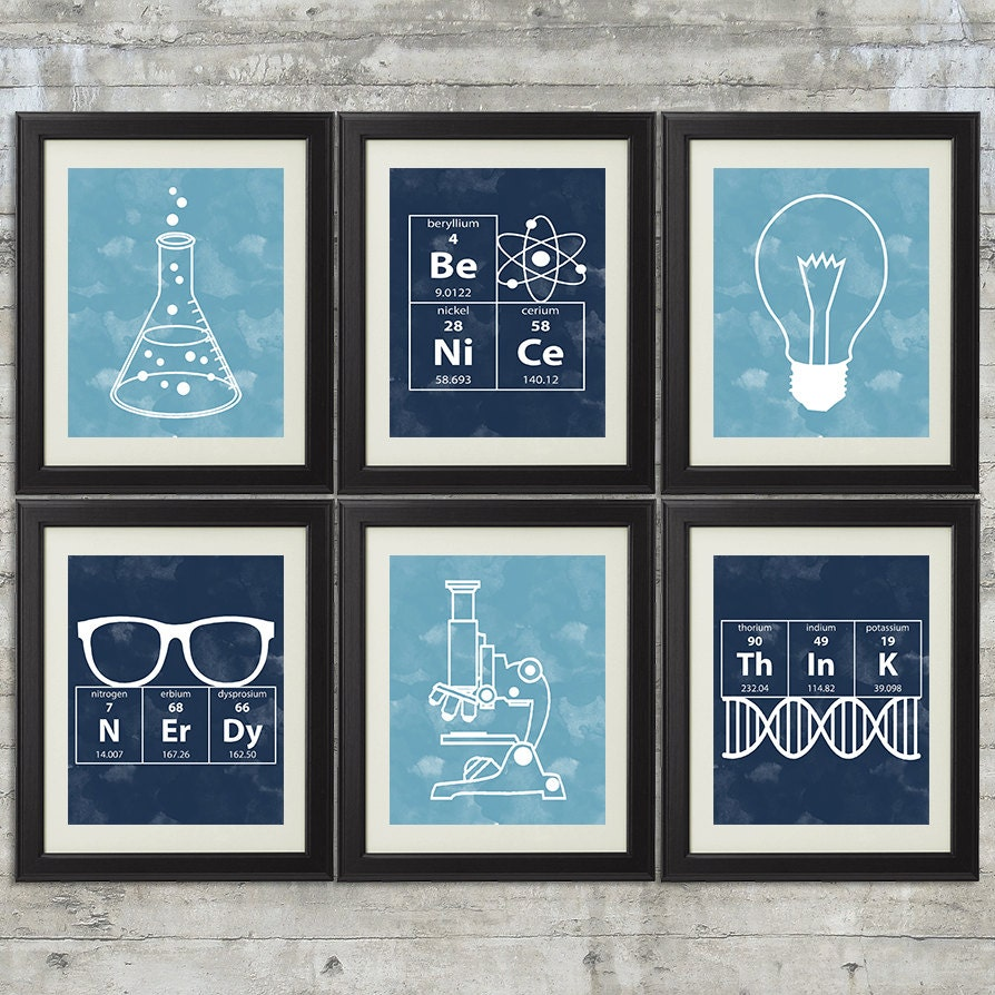 10 Images About Teen Science Themed Bedrooms On Pinterest: Nerdy Science Art Set Of 6 8x10 Prints With Erlenmeyer
