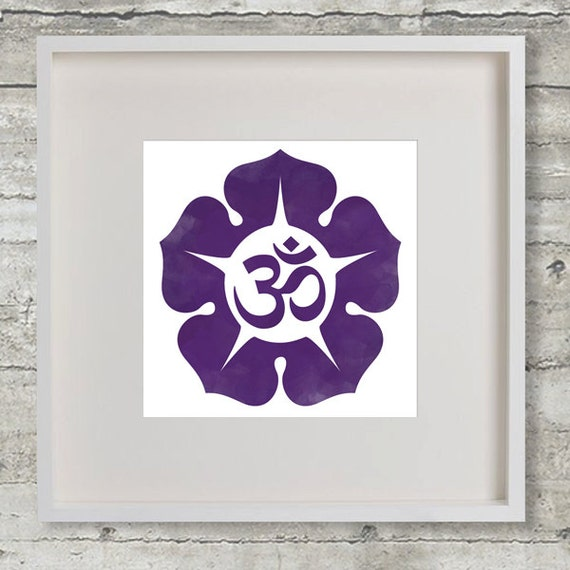 Indigo Om Aum Third Eye Chakra Symbol Silhouette Watercolor Etsy
