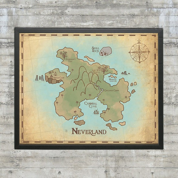 Peter Pan Nursery Neverland Map Map Of Neverland 20x16 Etsy