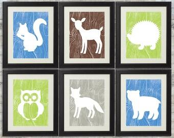 Woodland Nursery Art , Forest Nursery Art, Forest Animals, Little Critters - set of 6 -  8x10 Printable Files