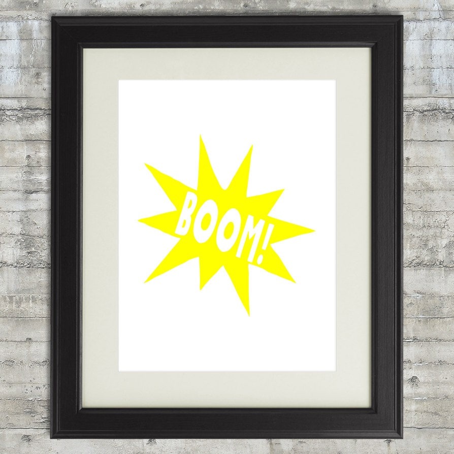 Superhero Wall Decor BOOM Comic Burst Printable boys room | Etsy