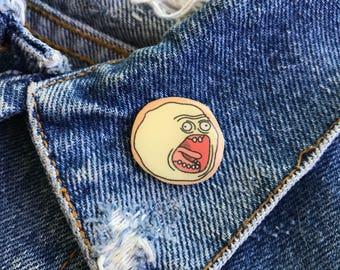 Handmade Rick and Morty Screaming Sun Earth Resin Lapel Pin