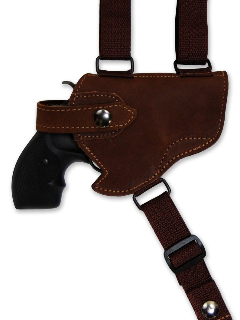New Brown Leather Horizontal Cross Harness Shoulder