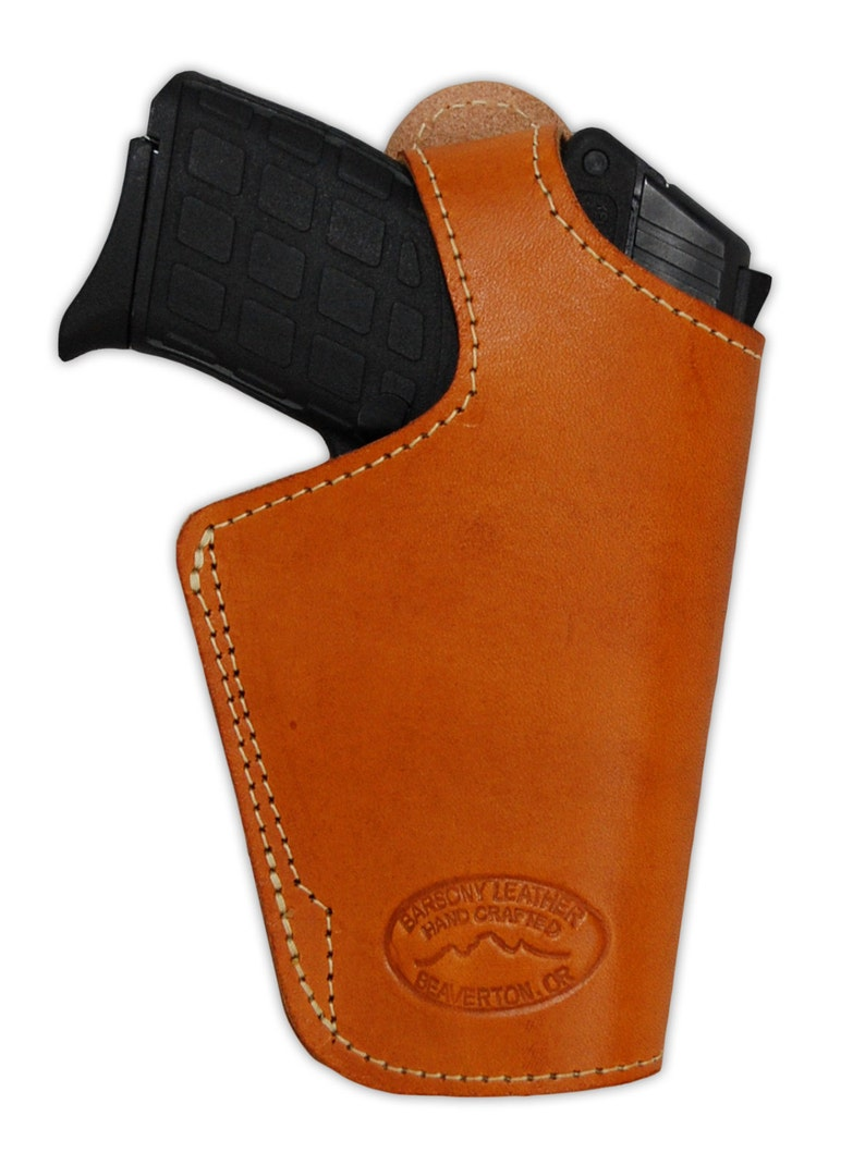 New Saddle Tan Leather OWB Holster for 380, Ultra-Compact 9mm 40 45 Pistols  (#13ST)
