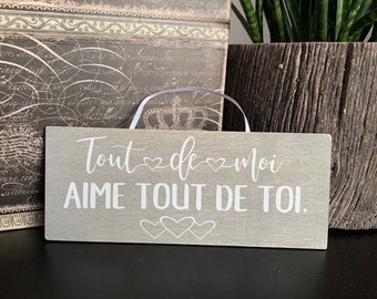 small wood sign, french text, valentine's day gift, wedding gift, gift for wife or girlfriend