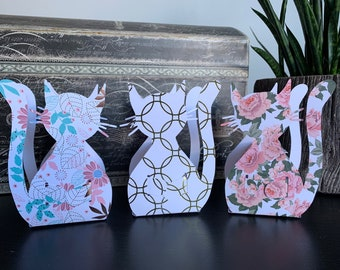 Cat shaped party favor box, small gift box DIY, random assorted colours, some assembly required, shipped flat