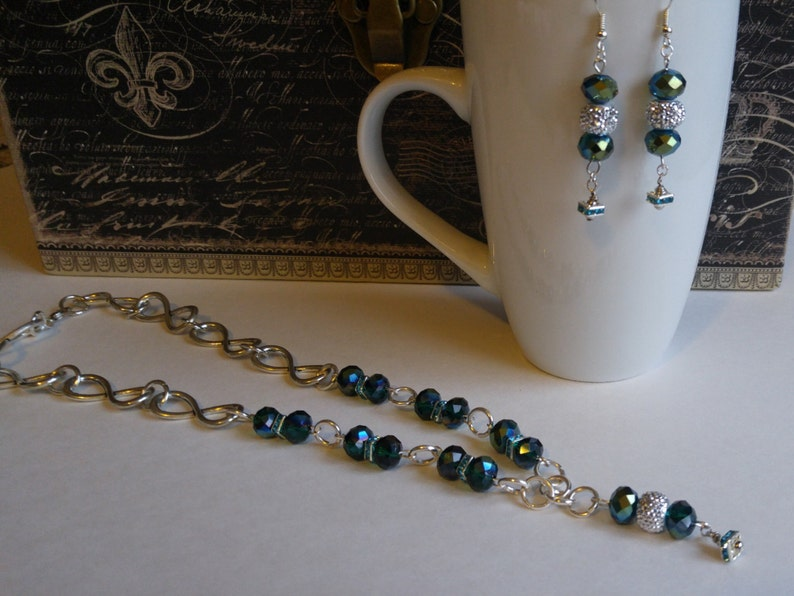 Peacock green sparkling crystal necklace and earrings set prom jewelry gift for her formal wear handmade by Felicianation one of a kind