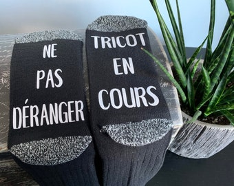 Gift for knitters, funny message socks for women, random colours