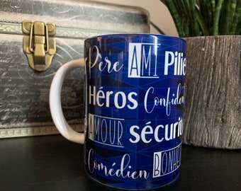 Gift for dad, French sentimental mug for dad, sweet gift for fathers