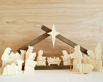 Wooden Holy Family Nativity set with small stable (13figurines+Small Stable)--Wooden Creche--Unique Handmade Nativity scene--COMPLETE SET