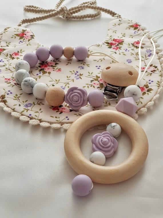 Pink Silicone Wooden Teething Necklace+Teething Baby Bracelet//Sensory Jewellery