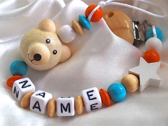 Personalised Wooden Dummy Clip BEAR