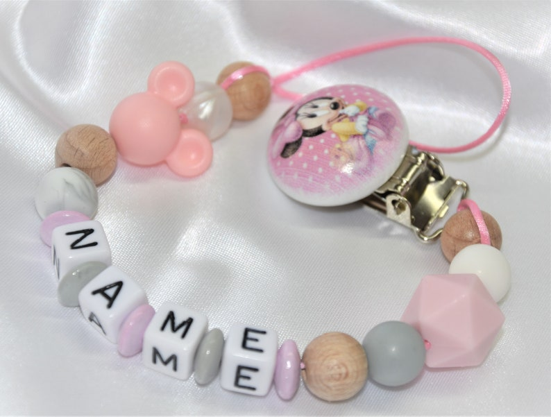 BABY GIRL PERSONALISED PINK MINNIE MOUSE DUMMY CLIP//PACIFIER//TOY HOLDER CLIP