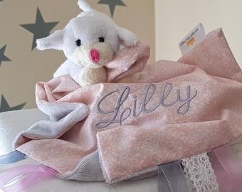 Personalised Comforter Sheep / Tags Blanket / Baby Blanket / Baby Shower / Girls Personalised Toys
