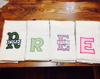 Set of 3 Personalized burp cloths.