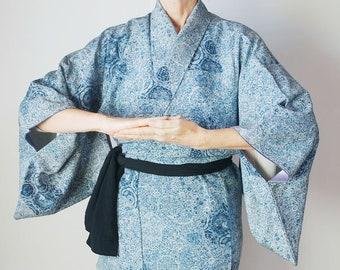50e07c86ad6713 Blauen Kimono, japanischer Kimono Robe Kimono lang Frauen, japanische  Kleid, japanische lange Gewand, Kimono-Bademantel Kimono outfit