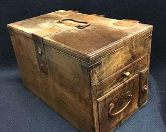 Japanese Safe Box, Vintage Safe Box,  Japanese Chest, antique chest, Japanese Tansu, Dansu, Handmade Storage, Wood chest, Handmade Tansu,