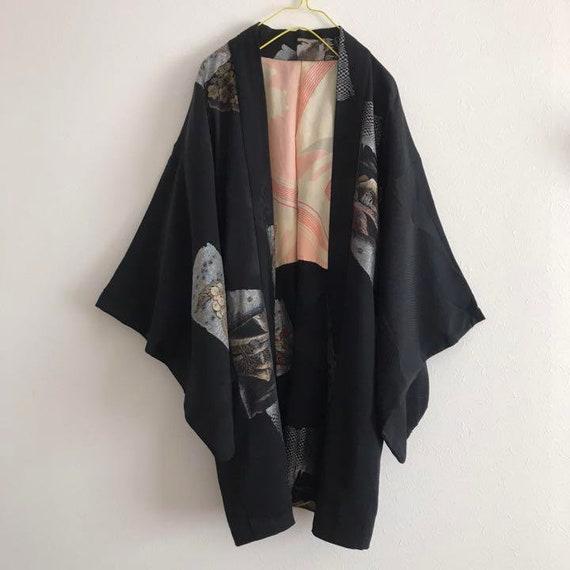 Haori Kimono, Short Kimono Silk, Black Haori Silk,