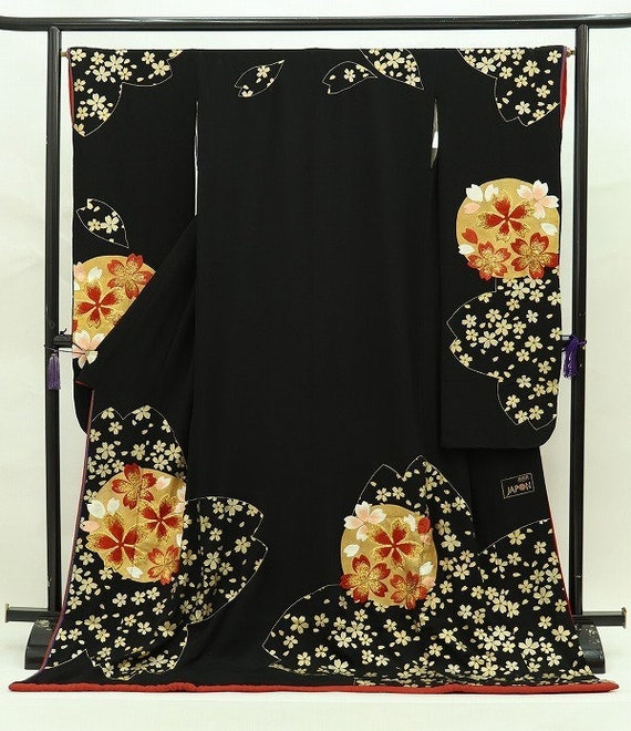 Furisode Kimono Black, Silk Furisode, Wedding Kimo