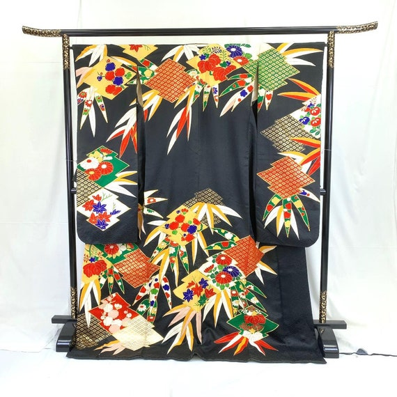 Furisode Kimono Black, Silk Furisode, Wedding Kim… - image 2