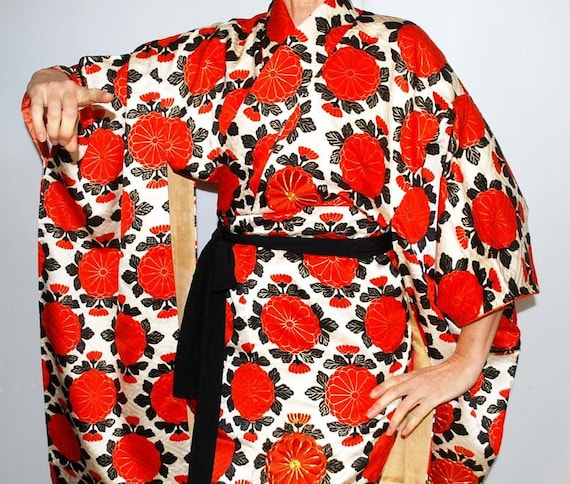 Furisode, Wedding kimono, Silk furisode red, Vinta