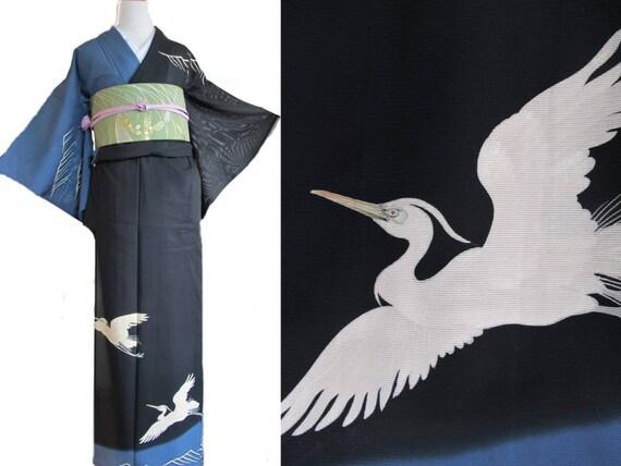 Kimono Robe Black, Silk Kimono Black, Wedding Kimo