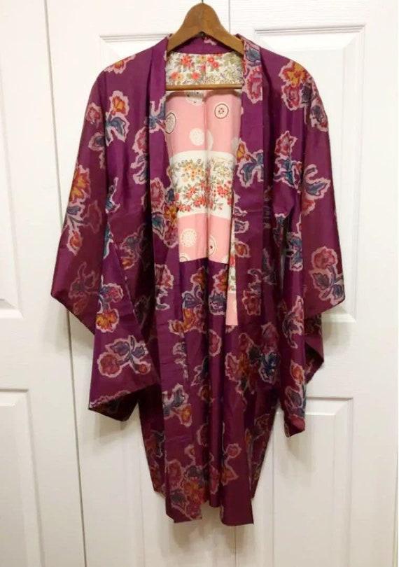 Haori Kimono, Short Kimono Silk, Purple Haori Silk