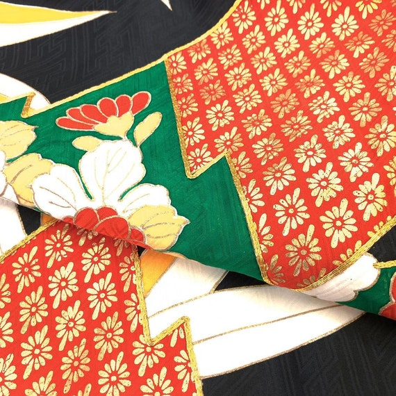 Furisode Kimono Black, Silk Furisode, Wedding Kim… - image 9
