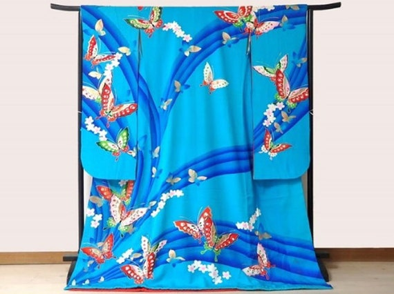 Mori Hanae, Hanae Mori, Furisode Kimono Blue, Silk