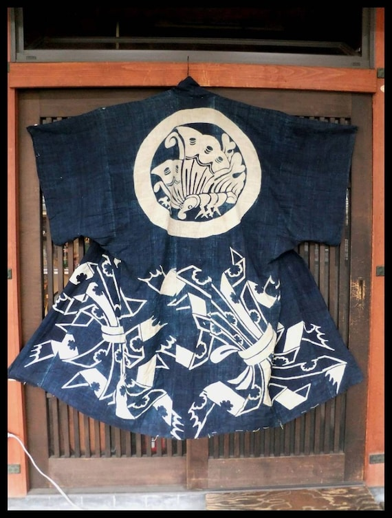 Antique Kimono Robe, Aizome Kimono, Japanese Aizom