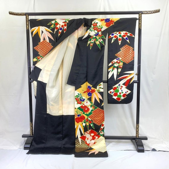 Furisode Kimono Black, Silk Furisode, Wedding Kim… - image 4