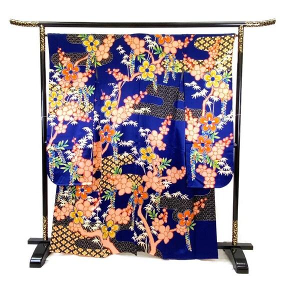 Furisode Kimono Blue, Silk Furisode, Wedding Kimon