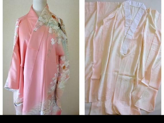 Furisode Kimono Pink, Jyuban, Silk Furisode, Japan