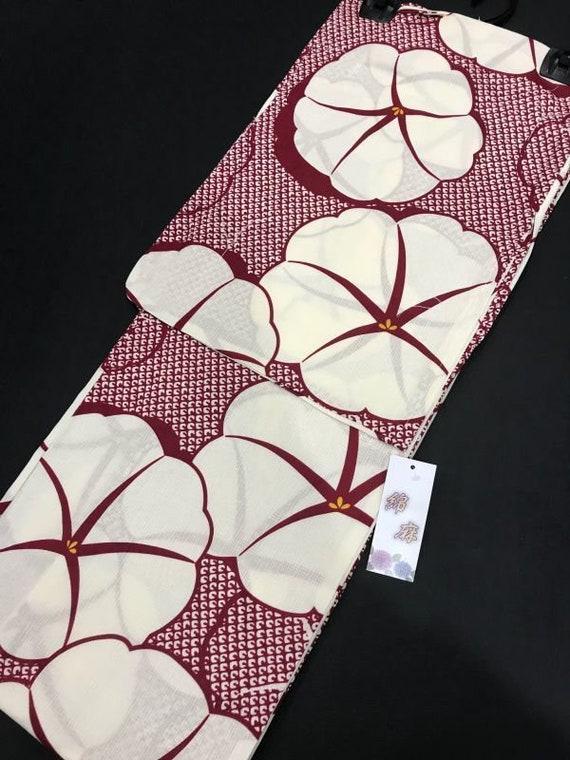 Red Yukata, Floral Yukata, Cotton Kimono robe, Jap