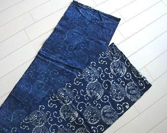 Aizome, Aizome Fabric, Japanese fabric, 370cm, Antique fabric, Indigo fabric,  Blue Katazome, Boro,