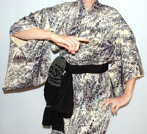Vintage Kimono Dress, Womens Kimono Robe, Japanese