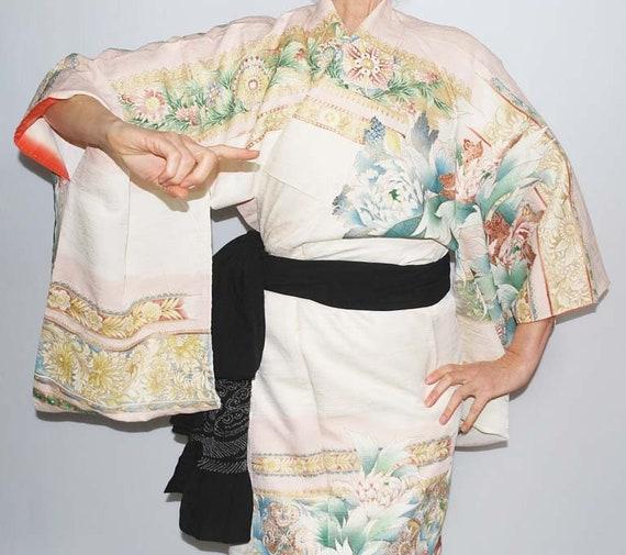 Vintage Kimono Robe, Embroidery Kimono, Handpainte