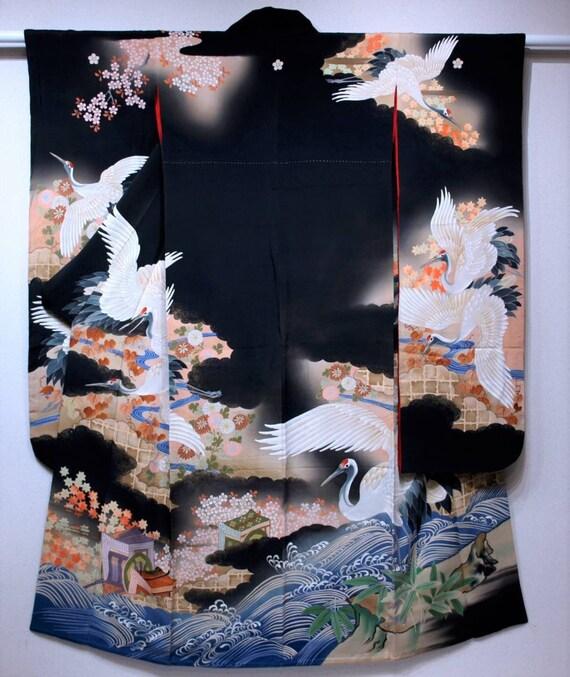 Antique Furisode, Furisode Kimono Black, Silk Furi