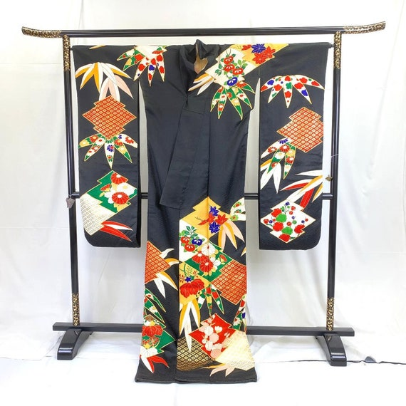 Furisode Kimono Black, Silk Furisode, Wedding Kim… - image 6