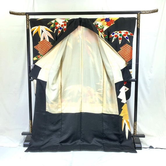 Furisode Kimono Black, Silk Furisode, Wedding Kim… - image 3