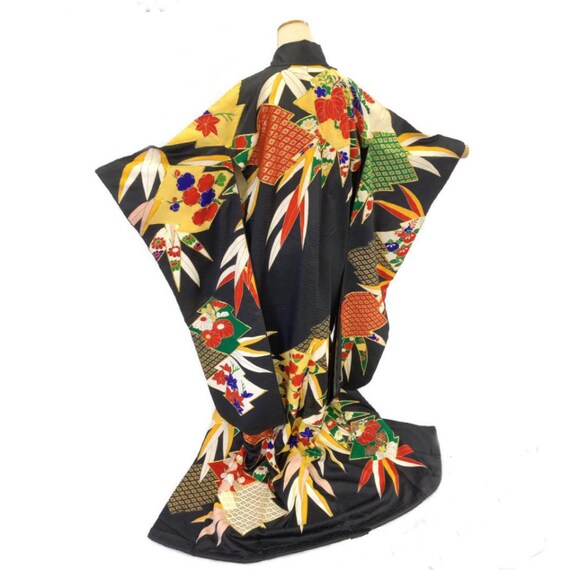 Furisode Kimono Black, Silk Furisode, Wedding Kim… - image 1