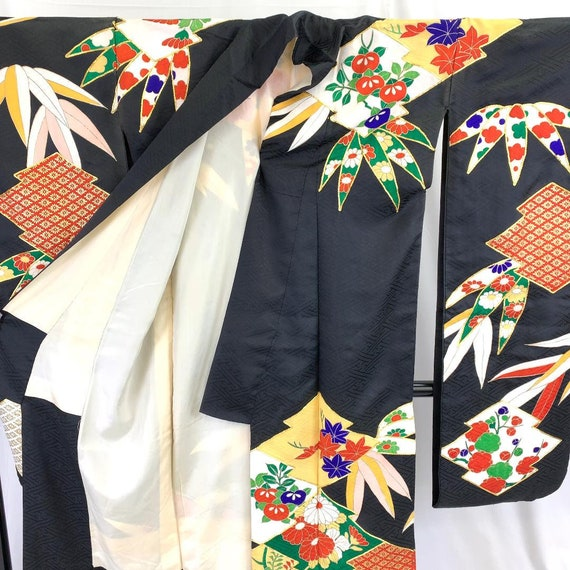 Furisode Kimono Black, Silk Furisode, Wedding Kim… - image 5