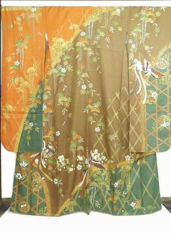 Furisode Kimono Green, Silk Furisode, Wedding Kimo